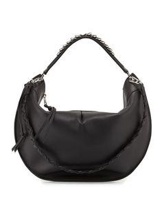 LOEWE Fortune Leather Hobo Bag, Black. #loewe #bags #shoulder bags #hand bags #leather #hobo #