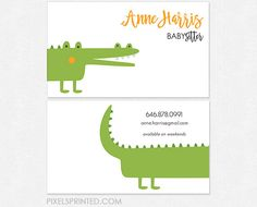 babysitter business cards  thick color both sides by PixelsPrinted