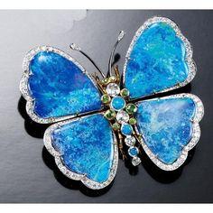 GARNET OPAL DOUBLET AND DIAMOND BUTTERFLY