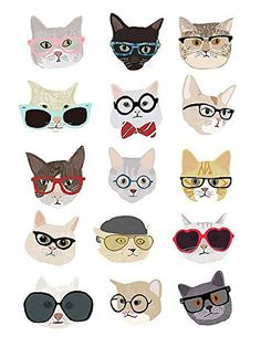 Cat Toys - Cats with Glasses Hanna Melin Animal Humor Funny Fantasy Poster (Choose Size, Print or Canvas) -- Details can be found by clicking on the image. (This is an affiliate link)