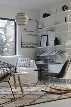 Vintage Bertoia Diamond-chair meets vintage Eames rocker. Pics from when the sun sets   http://vastarintama.net.