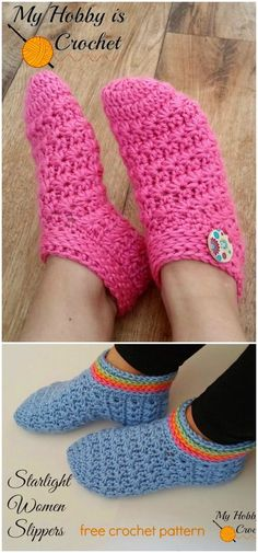Easy Crochet Slippers Free Patterns - Women Slippers - Ideas of Women Slippers - I have made a big list of most beautiful adorable and stylish Crochet Slipper Pattern.All of these super unique and creative! Easy Crochet Slippers, Crochet Slipper Boots, Crochet Slipper Pattern, Crochet Socks, Knit Or Crochet, Cute Crochet, Crochet Clothes, Crochet Patterns, Crochet Basics