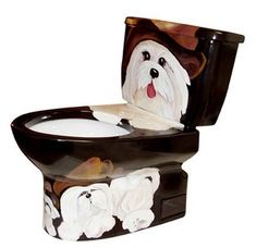 Items similar to Dogs Galore--Hand-Painted designer toilet on Etsy Sink Design, Toilet Design, Dog Design, Design Ideas, Dog Toilet, Toilet Sink, Pedastal Sink, Cool Toilets, Plumbing Humor