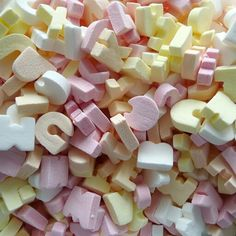 Candy letters to go in a jar.