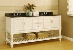 White Pearl Classic!  70 Inch Mission Style Double Sink Vanity in Pearl White