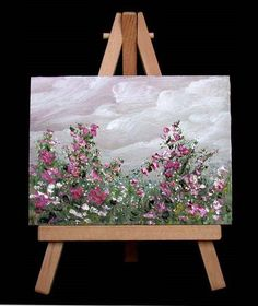 oil painting , floral, miniature 3x4.