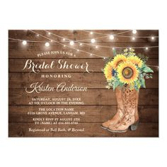 Rustic Boots String Lights Sunflower Bridal Shower Invitation Western Wedding Invitations, Rustic Bridal Shower Invitations, Sunflower Wedding Invitations, Wedding Invitation Cards, Modern Invitations, Invitation Wording, Invitation Ideas, Invites, Western Bridal Showers