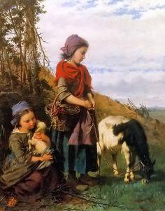 Oil painting henry campotosto  deux jeunes bergeres young shepherdess & lamb art #Realism