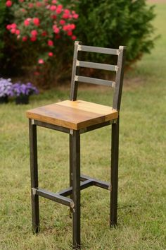 This stool is made from reclaimed barn lumber and a welded frame. The pictured barstool has a seat height of 30 inches. Seat heights of 18 and 25