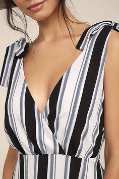 Ali & Jay Salsa Conmigo Dress - Striped Midi Dress - Ivory Striped Midi Dress