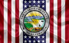 Download wallpapers Alaska, USA, 4k, American state, Seal of Alaska, silk texture, US states, emblem, states seal, American flag