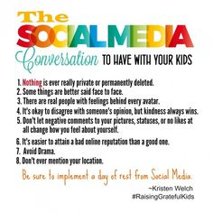 The Social Media Conversation To Have With Your Kids Anniversary Giveaway - Kristen Welch The Effective Pictures We Offer You About 30 day Social media detox A quality picture can tell you many things Social Media Safety, Social Skills, Teen Social Media, Social Issues, Social Work, Parenting Advice, Kids And Parenting, Peaceful Parenting, Gentle Parenting