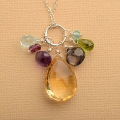 chakra necklace citrine necklace chakra gemstone necklace by izuly, $118.00