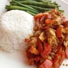 Foto recept: Kip curry met sperziebonen en rijst