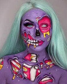 Zombie Face Paint, Pop Art Zombie, Cute Zombie, Cool Halloween Makeup, Diy Halloween Costumes, Halloween Make Up, Eyeshadow Designs, Pop Art Makeup, Zombie Makeup