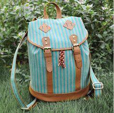 usd47.99/Retro Green Grain Backpack Bag