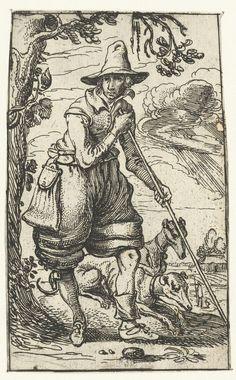 Jager met twee honden, Esaias van de Velde, 1610 - 1614: