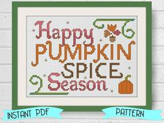 Counted Cross Stitch Pattern Pumpkin Spice Season Instant Download PDF Fall Thanksgiving Craft