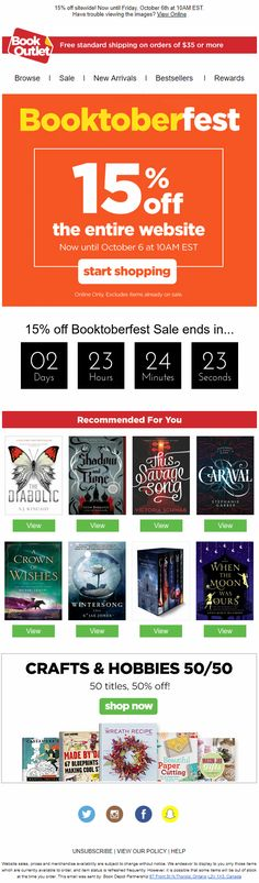 Booktoberfest Sale Email from Book Outlet including personalized product recommendations and a countdown timer #EmailMarketing #Email #Marketing #CountdownTimer #Countdown #Timer #Sale #Retail #Books #Product #Recommendations #Personalization