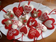 Mesemano - Szívek Karácsonyi dekoráció 14 db., Dekoráció, Otthon, lakberendezés, Karácsonyi, adventi apróságok, Karácsonyi dekoráció, Meska