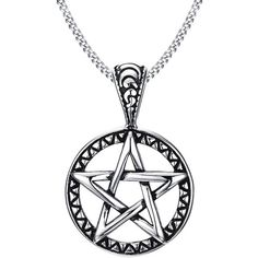 Blowin Stainless Steel Powerful Pentacle Necklaces Pentagram, Wicca... (20 PLN) ❤ liked on Polyvore featuring jewelry, necklaces, stainless steel necklace, chain pendant necklace, pentagram pendant, stainless steel jewelry and stainless steel chain necklace