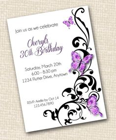 BUTTERFLY INVITATION - Printable - for Birthday, Shower, Rehearsal Dinner or Wedding - Customizable Party Invite on Etsy, $10.00