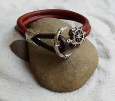 GGG2 - Men's double red leather cord bracelet with silver plated anchor and wheel clasp