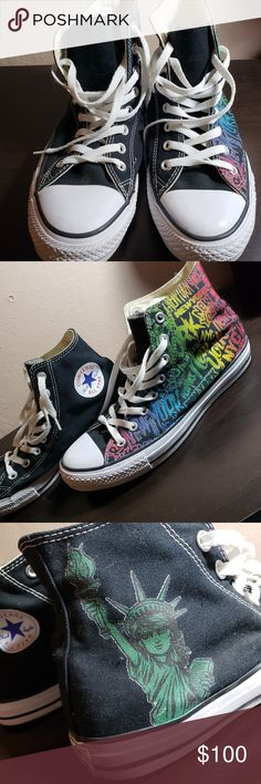 219a402315 COMPLETELY CUSTOME MADE Rainbow NYC Converse Size 10.5 womens / 8.5 mens  HIGHTOP Custom made at