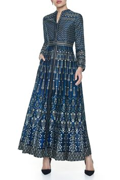 Shop Anita Dongre Blue ankle length dress with mandarin collar , Exclusive Indian Designer Latest Collections Available at Aza Fashions Designer Kurtis, Designer Dresses, Kurti Designs Party Wear, Kurta Designs, Indian Wedding Outfits, Indian Outfits, Robe Anarkali, Luxury Wedding Dress, Indian Attire