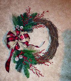 Christmas burlap and plaid