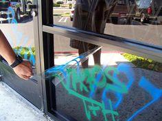 Storefront with anti-graffiti film applied Window Films, Store Fronts, Graffiti, Solar, How To Apply, Windows, Arizona, Crystals, Graffiti Artwork