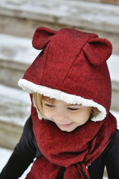 Use your favorite hood pattern to make this easy custom flannel hooded scarf…