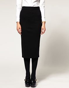 ASOS Pencil Skirt In Longer Length  $50.13  NOW $34.91  Pencil skirt, featuring a high rise waist, a concealed zip closure and slit to the reverse. Designed with a tailored fit and a midi length.