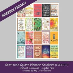 Free Printable Gratitude Quotes Planner Stickers from My Life Planners