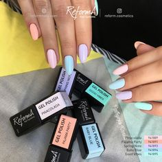 Crazy pastels by ReformA Educator Blue Gel, Gel Polish Colors, Neon Nails, Nail Designs Spring, Nail Supply, Artificial Nails, Beauty Essentials, Beauty Supply, Manicure And Pedicure