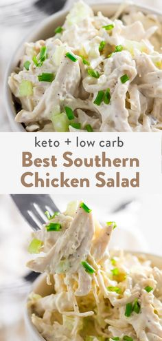 This is a keto chicken salad made with the best type of mayo using avocado oil. This is an easy keto and low carb recipe that's a simple dinner recipe or great for lunch ideas. It's southern style so no fear it features pickles and celery! Easy Salad Recipes, Chicken Salad Recipes, Easy Dinner Recipes, Easy Meals, Healthy Recipes, Snacks Recipes, Recipe Chicken, Beef Recipes, Poulet Keto