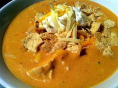 Chili's Chicken Tortilla soup in the crock pot.  Hand's down favorite version of the soup. So simple, so darn yummy!