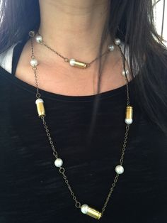 Long Necklace with 380 Bullet Casings and Glass Pearls, Antiqued Brass Chain, Bullet Necklace, Bullet Jewelry, Rope, Lariat, Pearl Necklace by ShotThruTheHeart on Etsy