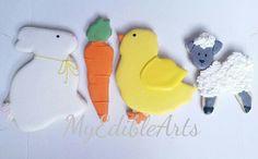 Bunny, carrot, chick and lamb sugar cookies
