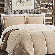 So Soft™ Plush Reversible Comforter Set in Tan
