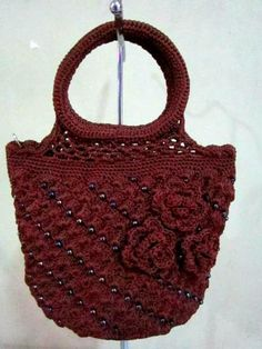Knitted Mini Hand Bag Dark Brown With Bead Floral by KnitAndCrochetBag for $14.00