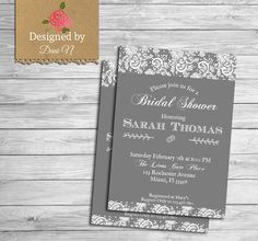 New to DesignedbyDaniN on Etsy: Bridal Shower party invitation lace classic white and gray elegant bridal invite i do party engagement bachelorette party invite (15.00 USD)