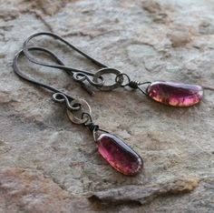 WATERMELON TOURMALINE earrings sterling silver by angryhairjewelry