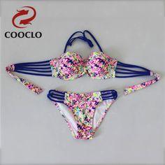 2016 sey women bikini New Sexy Lady print  Bikini Set Push Up Padded Bra Swimsuit Swimwear plus up Beachwear