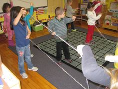 Partners Make Shapes with Yarn - Great First Day of School Activity!  (Thanks to Karen Jones for the neat idea!)