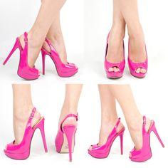 Bridesmaid shoes -hot pink slingback peep toe pumps | Hot Pink Open Peep Toe High Heel Platform Stiletto Slingback Pump ...