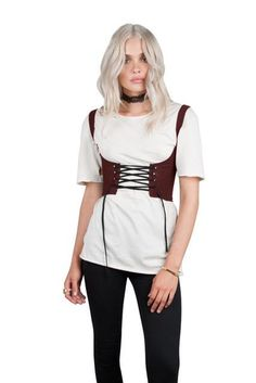239dc865983 Street Outfits Kylie Trendy Lace-up Waistcoat Coset Belt Cropped ...