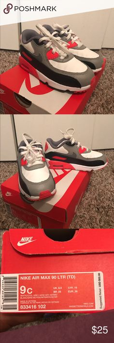 Toddler Nike Air Max 90s - Grey, White, Red Size 9 Toddler Air Max 90s - Excellent Condition. Only worn a few times. Unisex. Will sell quickly! Nike Shoes Sneakers