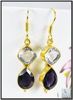 Pearl Emerald Cz Gems Stones 18 C Y.G. Plated Earring L 1.5in Gpemul-5245 http://www.riyogems.com
