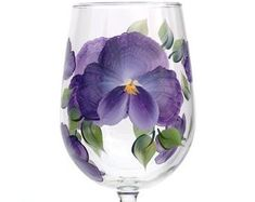 Tropical purple hibiscus petals with deep red centers and bright yellow stamens hand-painted encircling a quality 17 oz stemless wine glass. White Highlights, Purple Hibiscus, Olive Oil Bottles, Dishwasher Soap, Painting Process, Pansies, Pillar Candles, Orchids, Wine Glass